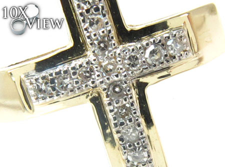 Yellow Gold Round Cut Micro Pave Diamond Cross Diamond