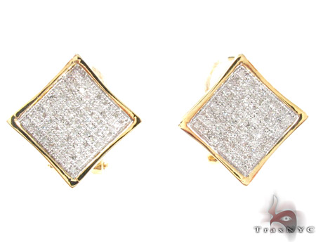 Yellow Gold Round Cut Micro Pave Diamond Earrings Stone