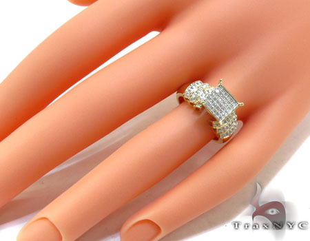 Yellow Gold Round Cut Micro Pave Diamond Ring Engagement