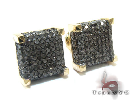 Yellow Gold Round Cut Pave Black Diamond Earrings Stone