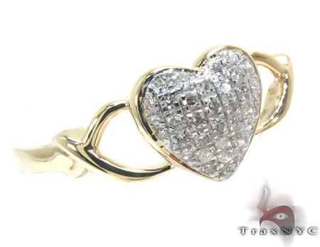 10K Yellow Gold Diamond Heart Ring Anniversary/Fashion