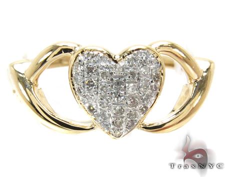 Yellow Gold Round Cut Pave Diamond Heart Ring Anniversary/Fashion