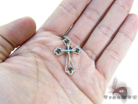 Yellow Gold Round Cut Prong Bezel Two Color Diamond Cross Crucifix Style