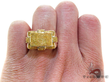 Yellow Gold Round Cut Prong Canary Color Diamond Ring Stone