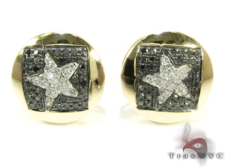 Yellow Gold Round Cut Prong Diamond Star Earrings 25233 Stone