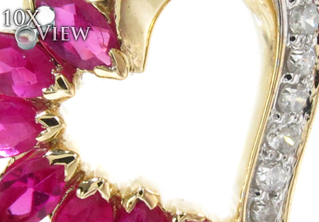 Yellow Gold Round Marquise Cut Prong Diamond Heart Pendant Stone