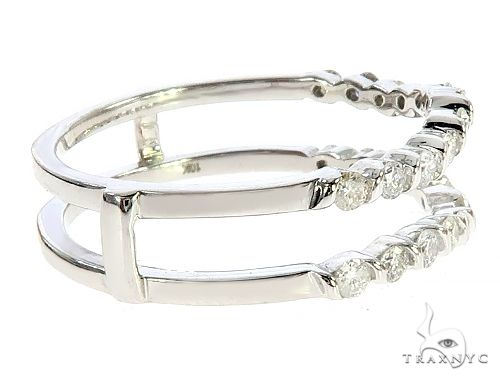 White Gold Two Row Diamond Prong Engagement Ring 65344 Style