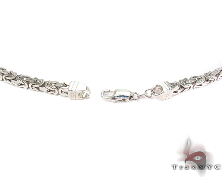 Byzantine White Silver Chain 36 Inches, 5mm, 113 Grams Silver