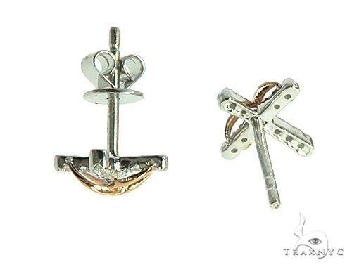 14K Rose Gold Infinity Diamond Cross Earrings 66272 Stone