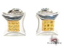 Small Round Cut Micro Pave Canary Diamond Earrings