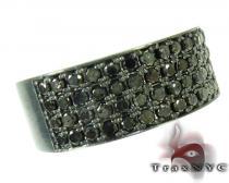 4 Row Black Diamond Ring