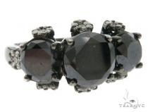 18K Black Gold Prong Diamond Three Stone Ring 61858 Anniversary/Fashion