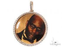 Prong Diamond Portrait Image Pendant Picture Medallion Metal