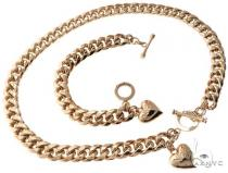 Miami Cuban n and Bracelet Set with Custom Locks and Heart Charms Gold