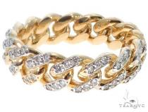 10k Yellow Gold Diamond Miami Cuban Ring 64676