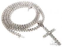 Custom Prong Diamond Cross Tennis Chain Set 64741 Diamond