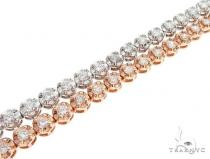 14k White and Pink Gold Double Diamond Bracelt 65109 Diamond
