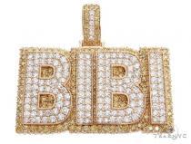 Special Custom Yellow Gold Name Pendant  BIBI Prong Diamonds 65247 Metal