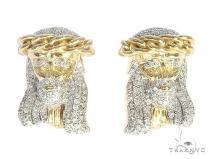 10K Yellow Gold Hip Hop Jesus Head Religious Micro Pave Earrings Hip Hop Earrings