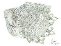 Custom Made 14K White Gold Prong Diamond Royal Crown Ring 65749 Stone