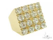 10K Yellow Gold 4 Row Diamond Ring Stone