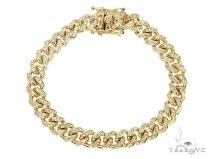10K Yellow Gold Diamond Cuban Link Bracelet 66089