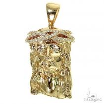 Solid 14K Gold Diamond Crown Jesus Pendant 66406 Style